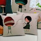 Decorative Cotton Linen Waist Throw Pillow Case Sofa Cushion Cover Girl and Boy