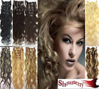 "Lady Weding Gift 22""Wavy Remy Clip in Real Human Hair Extensions 8PCS All Colors"