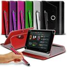 """360° Rotating Leather Spring Stand Case Cover & Stylus Fits Various 10+"""" Tablet"""