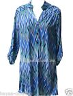 Hayaa ~ Electric Blue Chevron Tunic Top  3/4 Roll-Tab Sleeves S M L