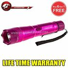 STUN GUN ALL Metal POLICE 10 Million Volt Rechargeable + LED Flashlight -Pink