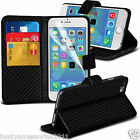 Carbon Fibre Wallet Stand Book Flip Folio Leather Phone Case Cover Pouch Holder
