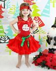 XMAS Santa Claus Head Pettitop Red Pettiskirt Baby Girl Outfit Costume Set 1-8Y