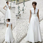 NEW Empire V-Neck Floor-Length White Evening Dresses/Wedding Dresses(8023014)