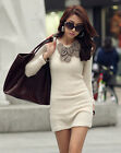 Elegant Womens Korean Winter Spring Cotton Sweater Dress Bodycon Mini Dress