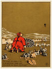 4733.Chinese man on floor with rabbits.umbrella.POSTER.Decoration.Graphic Art