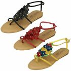 Ladies Spot On Flower Trim Toe Post Sandals