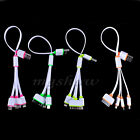 4in1 Micro USB Sync Data Multi Charger Adapter Noodle Flat Cable For Phones MP3