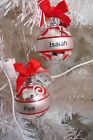Personalised Christmas Tree Bauble Ornament Small Silver/Red Selected Names