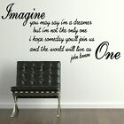 JOHN LENNON IMAGINE song lyric wall sticker quote transfer graphic vinyl QU79