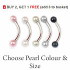 PEARL Curved Barbell Eyebrow Banana Bar Colour Balls 16G 1.2mm All Sizes 6 -12mm