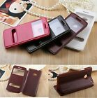 Luxury Dual Windows View PU Leather Flip Case Stand Cover Skins For HTC ONE M7