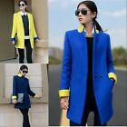 Classic Womens Lapel Collar Wool Blend Business Suit Slim Long Korea Coat Jacket