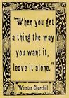 A4 Parchment Poster Quotation Churchill - Alone -  or Greeting Card Option