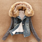 Eye Catching Winter Women Lamb Fur Collar Slim Short Denim Blue Jacket Coat FOUK