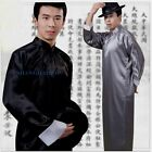 Traditional Chinese Men Clothes Long Gown Robe Plain Black/Red Costume Satin