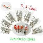 10Pcs 0.3-3mm Micro HSS Twist Drilling Bit Straight Shank Electrical Drill Tool