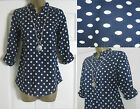 NEW EX WHITE STUFF NAVY BLUE WHITE SPOT TOP BLOUSE TUNIC SHIRT 8 10 12 14 16 18
