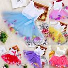 Girl Baby Children Rose Top rainbow Hemline Dress Tutu Clothing 2T/3T/4T/5T/6T
