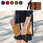 CELEBRITY STYLE CLARE STRIPE RIBBON CLUTCH BAG PURSE REAL SUEDE COW LEATHER