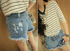 HOT Trendy Women Casual High Waisted Ripped Flange Hole Jeans Denim Shorts Pants