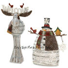Winter Welcome MOOSE Or Merry Christmas SNOWMAN Holiday Figurines (10015451/2)