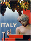 4989.Italy.Grapes hang.woman holding pillar.statue.POSTER.Decoration.Graphic Art