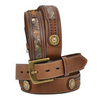 Rocky Western Belt Mens Leather Outdoor Camo Shotgun Shell Brown RB202
