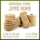 Natural Jute Rope Twisted Braided Decking Garden Boating Sash 6-40mm up to 500m