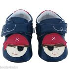 JACK and LILY Luxury Leather Baby Boys Shoes Navy Blue Pirate indoor & outerwear