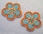 LOT (1ou2) ÉCUSSON PATCH BRODÉ thermocollant - FLEUR ROSACE ORANGE BLEU **5 cm**