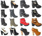 NEW WOMENS LADIES LACE UP CONCEALED PLATFORM HIGH BLOCK HEEL SHOES BOOTS SIZE UK