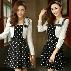 Elegant Womens Spring Shawl Polka Dot 2 Pieces Sweet Slim Long Sleeve Dress
