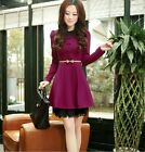 Spring Korean Fashion Womens Breasted Slim Elegant Lace Long Sleeve Mini Dress