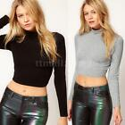 Women Sexy Long Sleeve Polo Neck Casual Blouse Tops Crop Top Shirt T-Shirt New