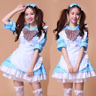Half sleeve Cosplay Costume Blue sexy servant Maid Outfits Party Dress Set apron