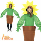 Adult Sunflower Costume Funny Fancy Dress Plant Pot Garden Outfit New