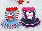 2 color Bear doll Stripes Denim Layer Dress Small Dog Clothes Pet Costume 5 size