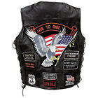 Biker Vest Lace-Up Buffalo Leather Motorcycle USA Flag Eagle w/ 14 Patches S-6XL