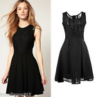 Fashion Sexy Sleeveless Women Chiffon Lace Top Tank Skater Dress New S-XL