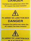 Electrical Safety Solar Warning Labels - PV ARRAY DC JUNCTION BOX Labels