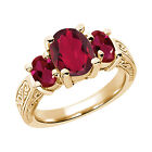 3.66 Ct Ruby Red Mystic Quartz Red Created Ruby  YG Plated Silver  Ring