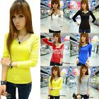 New Women V-neck Casual Long Sleeve Basic Tee T-shirt Petal Wave Top Blouses