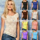 HOT Fashion Women Sexy Lace Flowers Short Sleeve Casual Shirt Tank Tops Blouse
