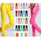 Womens Lady Stretchy Candy Color Pencil Pants Casual Slim Skinny Jeans Trousers
