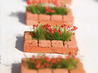 2 Miniature Flower planter with flowers HO   O gauge model diorama scenery