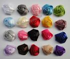 Wholesale Satin fabric Rose corsage hair flower Appliques Sewing 20color pick