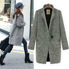 Brand New Womens Luxury Classic Black Tweed Woolen Coats Jackets Outwear FOUK