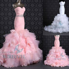 White/Pink Beaded Organza Long Ruched Bridal Gown Wedding Dresses Size 6 8 10 12