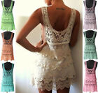 Vtg Women Sexy Lace Scallop Crochet Tunic HIPPIE Boho Tee Tank Mini Beach Dress